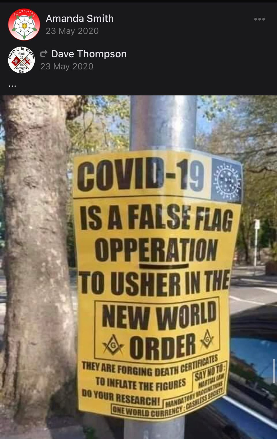 """Poster reading """"Covid-19 is a false flag operation to usher in the New World Order""""."""